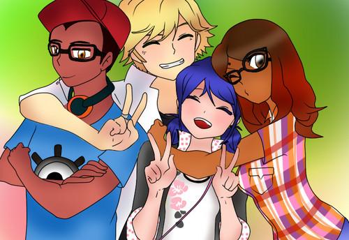 Miraculous Ladybug Hintergrund containing Anime called Marinette, Alya, Adrien and Nino