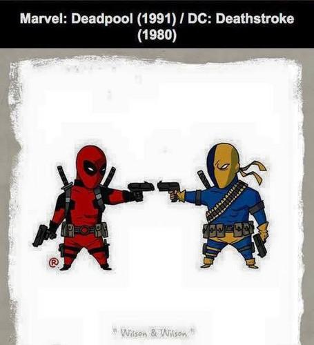 Marvel Comics VS. DC Comics fond d'écran possibly containing animé titled Marvel vs DC - Deadpool / Deathstroke