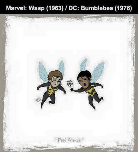 Marvel Comics VS. DC Comics fond d'écran probably with a sign entitled Marvel vs DC - guêpe / Bumblebee