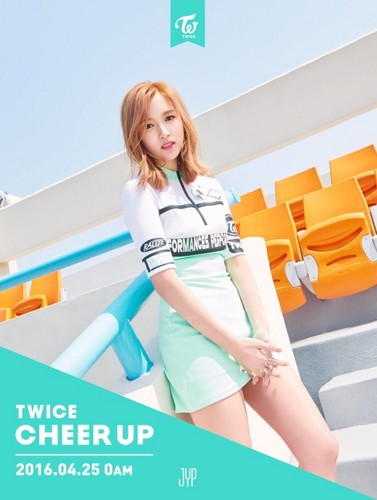 Twice (JYP Ent) वॉलपेपर probably containing a portrait titled Mina ''Cheer Up'' teaser pic