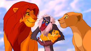 Nala and Simba with Rafki holding Kopa