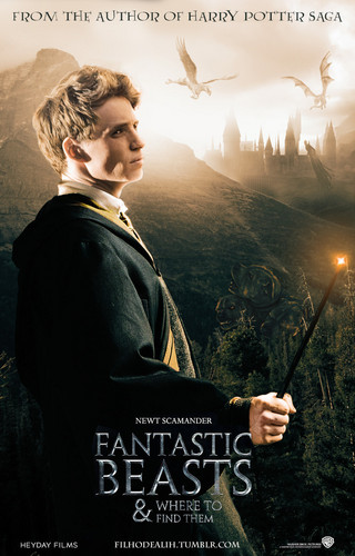 Fantastic Beasts and Where to Find Them wallpaper probably containing a business suit, a street, and a sign entitled Newt Scamander Movie Poster