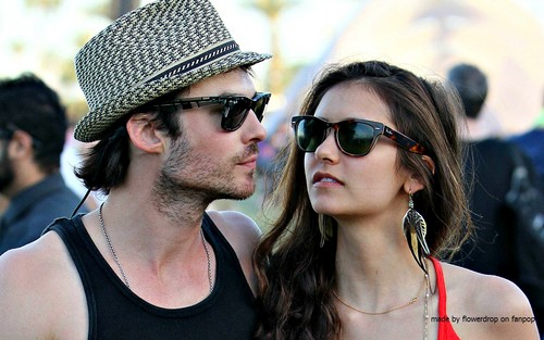 Ian Somerhalder and Nina Dobrev wallpaper containing sunglasses called Nina and Ian Wallpaper