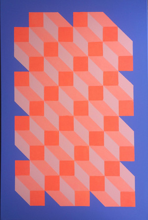 Orange Blue Geometric Cube Canvas Painting by Dominic Joyce 1