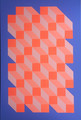 Orange Blue Geometric Cube Canvas Painting by Dominic Joyce 1 - modern-art photo