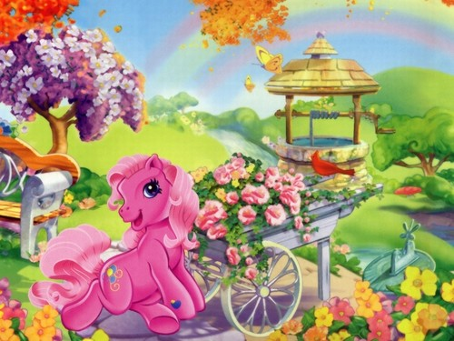 My Little Pony wallpaper with a bouquet, a japanese apricot, and a rose titled Pinkie Pie