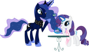 Rarity and Princess Luna having thé