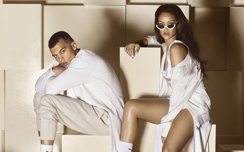 Rihanna fond d'écran containing sunglasses titled Rihanna fourrure slide Puma