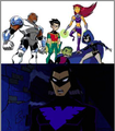 Robin/Nightwing, Beast Boy, Raven, Cyborg, and Starfire - dc-comics photo