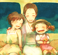 Satsuki, Mei and their Mother - my-neighbor-totoro fan art