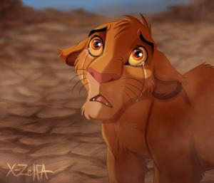 Simba in tears