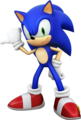 Sonic Pointing to his right while :) - sonic-the-hedgehog fan art