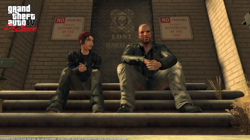 Grand Theft Auto IV The Lost And Damned Hintergrund probably containing a packing box, a street, and a sign called TLAD 35