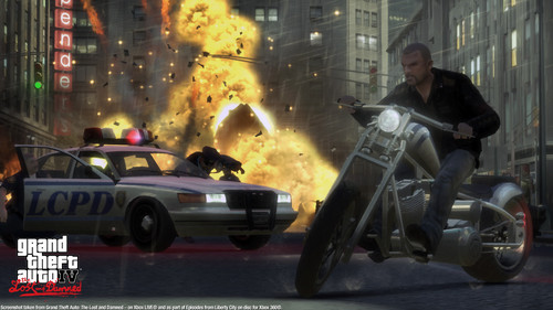 Grand Theft Auto IV The lost And Damned fondo de pantalla possibly with a motorcycle cop and a calle entitled TLAD 78