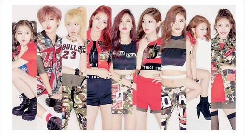 Twice (JYP Ent) fondo de pantalla possibly containing a playsuit, traje de juguete entitled TWICE fondo de pantalla