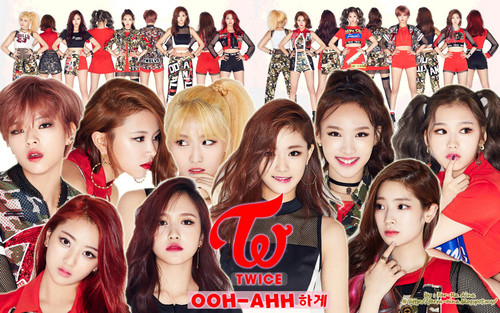 Twice (JYP Ent) achtergrond possibly with a bearskin and a portrait titled TWICE achtergrond