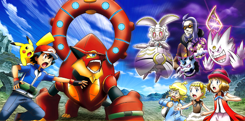 Pokémon wolpeyper possibly containing anime titled Volcanion & The Ingenious Magearna Poster