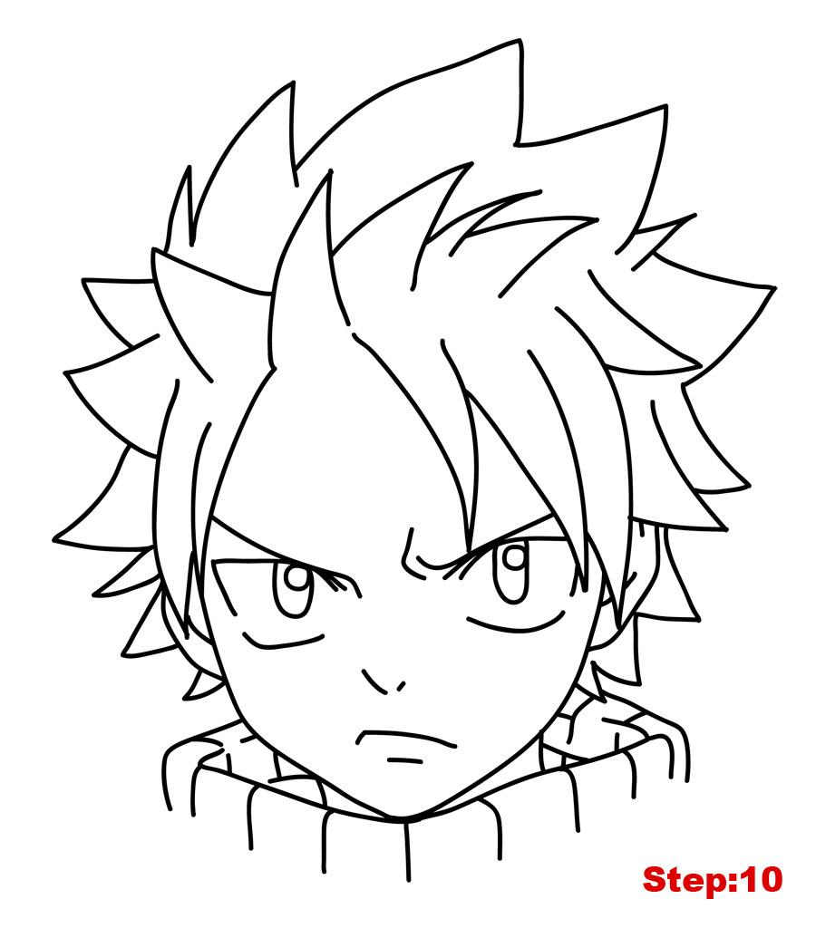 draw natsu fairytail step 10