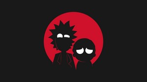 rick and morty adult swim minimalism black funny hoạt hình 1920x1080