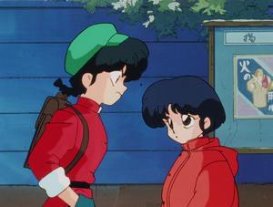 """""""Akane telling Ranma he's a meanie"""" Ranma and Akane"""