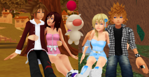 Sora x Kairi and Roxas x Namine Together with Moogle