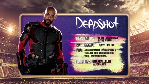 Suicide Squad wallpaper containing a sign called 'Suicide Squad' - Meet 'The Team' ~ Deadshot