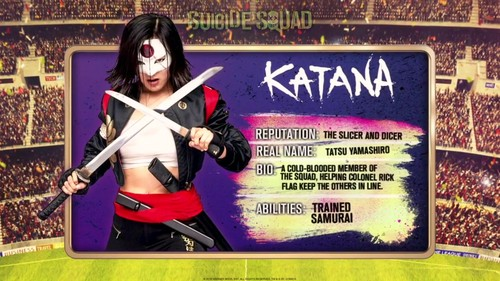 Suicide Squad 바탕화면 possibly containing a sign titled 'Suicide Squad' - Meet 'The Team' ~ Katana