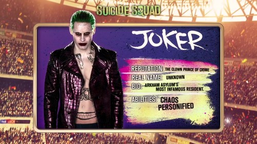 Suicide Squad karatasi la kupamba ukuta with a sign entitled 'Suicide Squad' - Meet 'The Team' ~ The Joker