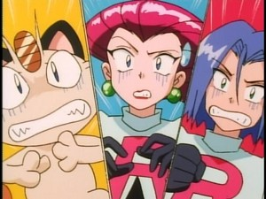 Meowth, Jessie and James scared