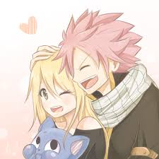 Fairy Tail Обои possibly with Аниме called A cute pic of Natsu, Lucy and Happy! <33