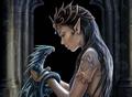 A girl with a dragon - fantasy fan art
