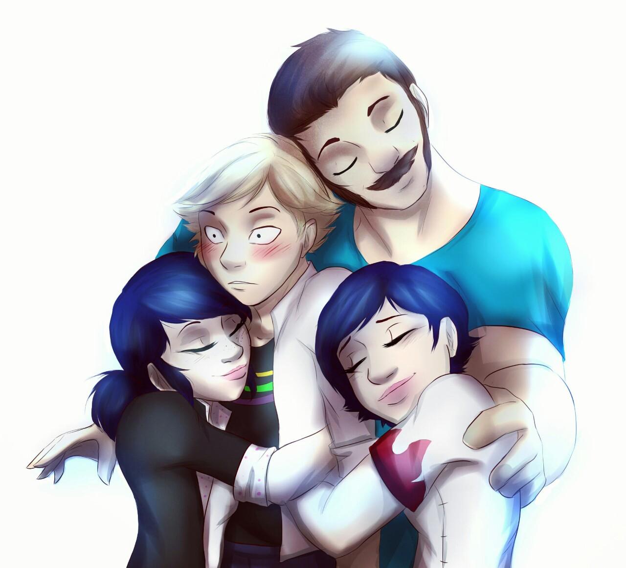 Adrien, Marinette, Tom and Sabine