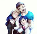 Adrien, Marinette, Tom and Sabine