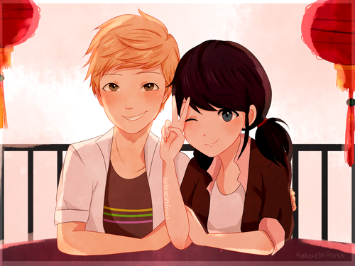 Miraculous Ladybug Hintergrund entitled Adrien and Marinette
