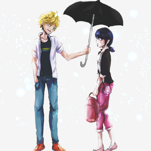 Miraculous Ladybug Обои containing a parasol called Adrien and Marinette