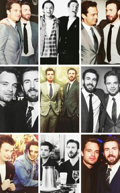 Chris Evans & Sebastian Stan 壁紙 probably with a business suit and アニメ titled Chris Evans and Sebastian Stan photoset