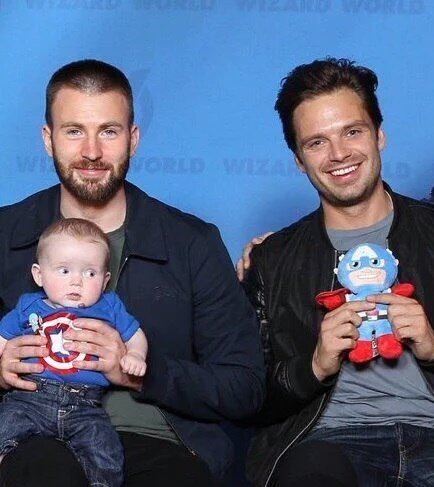 Chris Evans & Sebastian Stan Обои titled Chris and Sebastian ft. baby and кепка, колпачок plush