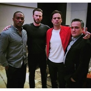 Chris and Sebastian with Anthony Mackie and Russo