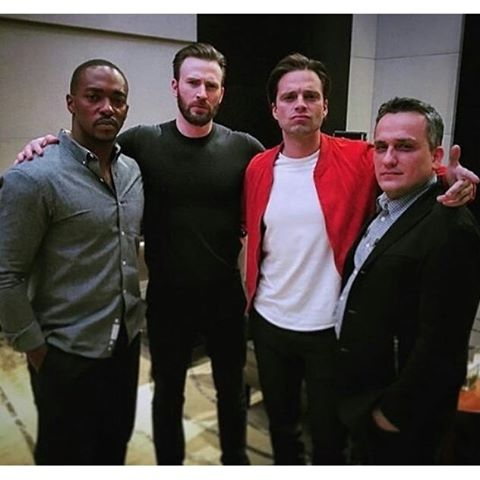 Chris Evans & Sebastian Stan fond d'écran with a business suit and a well dressed person called Chris and Sebastian with Anthony Mackie and Russo