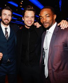 Chris Evans & Sebastian Stan fond d'écran containing a business suit, a suit, and a dress suit titled Chris and Sebastian with Anthony Mackie