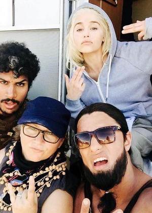 Emilia behind the scenes of GoT season 6