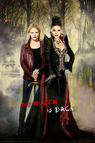 Once Upon A Time wallpaper with a dinner dress, a gown, and a bridesmaid called Emma and Regina