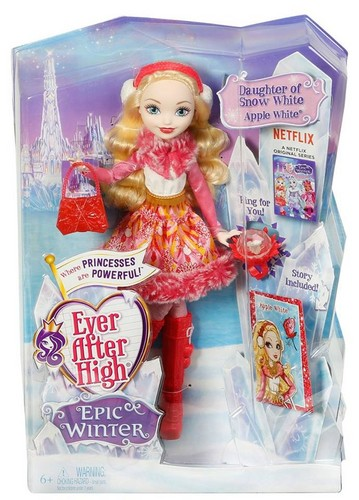 Ever After High wallpaper probably containing a hard caramelle called Ever After High Epic Winter mela, apple White doll