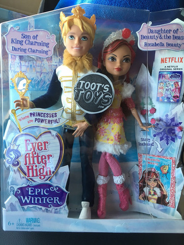 에버 애프터 하이 바탕화면 possibly containing a sign, a newsstand, and a newspaper entitled Ever After High Epic Winter Daring Charming and Rosabella Beauty Two Pack