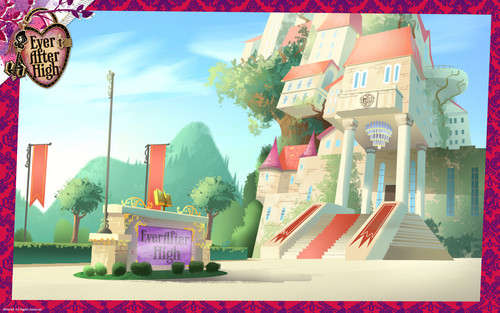 에버 애프터 하이 바탕화면 possibly with a street, an awning, and a 식당 titled Ever After High School 바탕화면