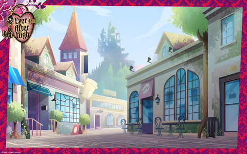 Ever After High wallpaper possibly containing a brownstone, a street, and a row house called Ever After High The Village of Book End wallpaper