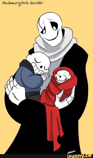Gaster with baby Sans and baby Papyrus