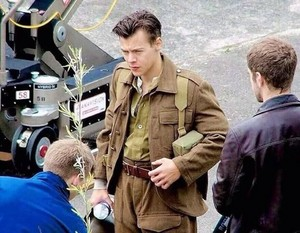 Harry on the set of Dunkirk