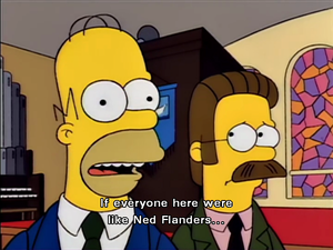Homer Simpson and Ned Flanders