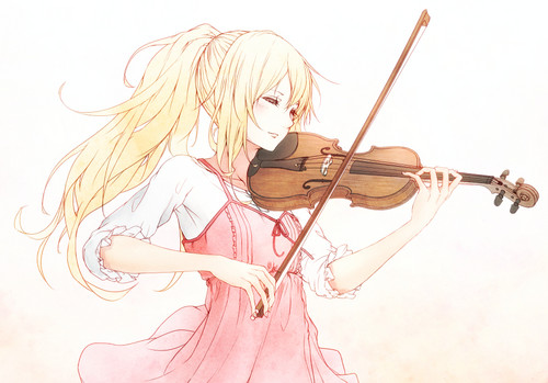 Shigatsu wa Kimi no Uso wallpaper containing a pemain biola and a cello entitled Kaori Miyazono